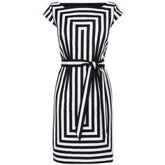 Karen Millen Graphic Stripe Shift Dress, Black/White (£160) found on Polyvore featuring dresses, black white stripe dress, cap sleeve dress, stripe maxi dress, striped shift dress and maxi dress