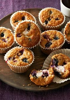 Wild Berry-Oatmeal Cheesecake Muffins – It only takes 15 minutes to prep this recipe for the oven. And they're so much better than overpriced coffee shop muffins!