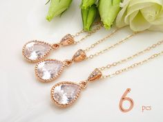 Bridal Jewelry Set of 6 10% Off Rose Gold by Crystalshadow on Etsy