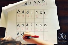 Learning to write names-like the idea of the boxes to work on spacing