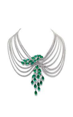 Farah Khan Zambian Emerald Multi-Layered Necklace by Farah Khan Fine Jewelry