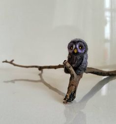 Micro owl....Felt toy Handmade Doll Soft Sculpture OOAK Needle
