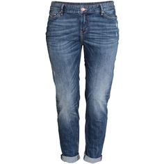 H&M+ Boyfriend Low Jeans ($47) ❤ liked on Polyvore featuring jeans, pants, plus size, dark denim blue, h&m, low rise jeans, h&m jeans, blue jeans and plus size jeans