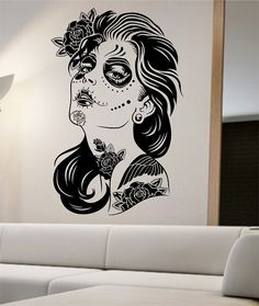 Day of the Dead Wall Decal ROSES GIRL Vinyl by StateOfTheWall