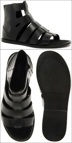 GARCON MENS STYLE FASHION BLOG ASOS Leather Sandals With Side Zip GLADIATOR STYLE
