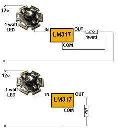 CONSTANT-CURRENT USING LM317 DRIVES 1 WATT LED By Collin Mitchell - 30 LED Project.