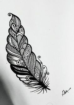 Mandala Tattoo Design Mandala Drawing Doodle For Beginners Feather Art Mandala Feather Caligraphy Pen Leave Art Biro Drawing Cute Drawings Doodle Art Designs, Easy Doodle Art, Doodle Art Drawing, Cool Art Drawings, Zentangle Drawings, Mandala Drawing, Pencil Art Drawings, Art Drawings Sketches, Drawing Ideas