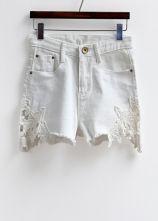 White Embroidered Crochet Side Denim Shorts