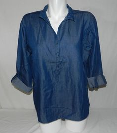 NWT Bandolino Jordan Kara Wash Blue 3 Button Womens Top Blouse Shirt Size M T2 #Bandolino #Blouse #Casual