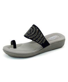 Black Eyelet Toe-Strap Sandal