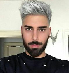 We've gathered our favorite ideas for Ombre Hair Color Trends Is The Silver Grannyhair Style, Explore our list of popular images of Ombre Hair Color Trends Is The Silver Grannyhair Style in men dyed silver hair. Silver Hair Men, Grey Hair Men, Grey Hair Black Beard, Ombre Hair Men, Brown Hair, Mens Hair Colour, Ombre Hair Color, Ash Gray Hair Color, Hair Colors