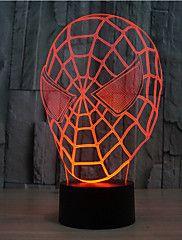 Spider-Man érintés tompítása 3D LED éjszakai fény 7colorful dekoráció hangulat lámpa újdonság világítás karácsonyi fény