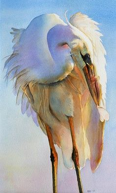 """Preening Egret"" by Sarah Buell Dowling"