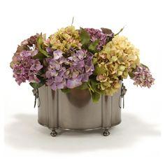 Distinctive Designs Hydrangeas and Lilacs Silk Flower in Planter - 7650