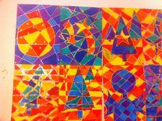 Kerst: met verf, mbv kleurencirkel (tertiaire kleuren tegenover elkaar) lijnen met verf of met gouden en zilveren stift, groep 8