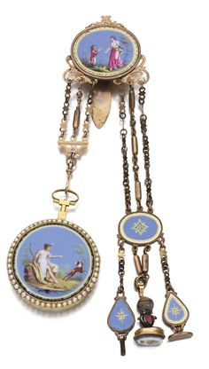 FRENCH A YELLOW GOLD, ENAMEL AND PEARLS OPEN-FACED WATCH WITH MATCHING CHATELAINE CIRCA 1790