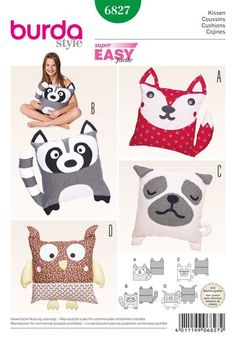 Burda Sewing Pattern BD6827 Animal Cushions - Easy to sew. Enjoy sewing them all: Pug dog, cat, owl, raccoon, look at them, snuggle and cuddle with them or just give away these cute animal cushions designed with love … WeaverDee.com