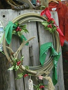 western burlap ribbon | Western Christmas Wreaths | Stylish Western Home Decorating