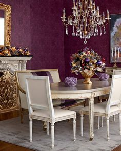 Massoud Lilah Settee   Love the purple walls and gold accent against the white dining table!