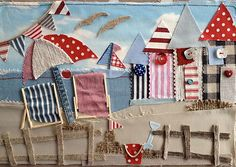 So cute - Applique Free Motion Embroidery, Free Machine Embroidery, Framed Fabric Art, Beach Quilt, Fabric Postcards, Fabric Pictures, Art Textile, Landscape Quilts, Sewing Art
