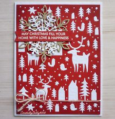 handmade Christmas card from A Scrapjourney . die cut coverplate with trees, deer, an other folkloric bits . Die Cut Christmas Cards, Christmas Card Images, Christmas Greetings, Christmas Traditions, Holiday Cards, Nordic Christmas, Modern Christmas, Christmas Holidays, Christmas Ideas