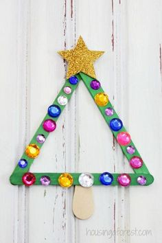 Use popsicle sticks for trees or snowflakes