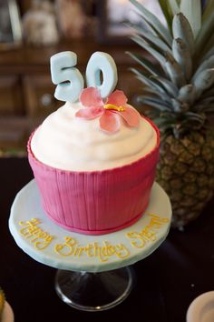 hawaiian luau party, birthday cake, 50th birthday