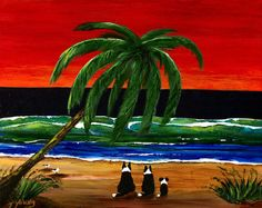 Border Collie Dog Folk Art Print Todd Young painting SUNSET BEACH