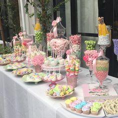 #Pastel #garden themed #babyshower #candytable....so #sweet! #itsagirl #flowers #desserttable! #Candybar
