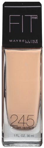 Maybelline New York Fit Me! Foundation, 245 Medium Beige, SPF 18, 1 Fluid Ounce