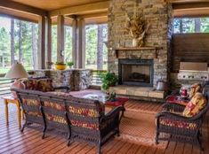Adding elements of decor will make your screened porch feel just like another room in your home! Here are 10 ideas to turn your screened porch into an indoor-outdoor living room. Porch Fireplace, Fireplace Design, Fireplace Ideas, Unused Fireplace, Home Design, Interior Design, Room Interior, Outdoor Living Rooms, Living Spaces