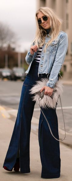 #summer #outfits Denim Jacket + Navy Wide Leg Trousers