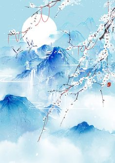 cranes in winter, mountain background