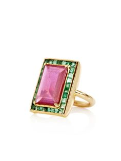 Ruby, emerald and yellow gold ring by Jade Jagger.