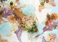 Ice Cream Flowers from Parker Fitzgerald and Kinfolk Ice Cream Flower, Cream Flowers, Small Flowers, Magazine Kinfolk, Parker Fitzgerald, Spring Blossom, Cherry Blossom, Arte Floral, Food Art