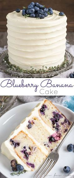 The delicious combination of bananas and blueberries gets paired with a tangy cream cheese frosting in this Blueberry Banana Cake recipe. #blueberrycake #bananacake #dessert