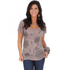 Womens Wrangler Mushroom Short Sleeve Shirt