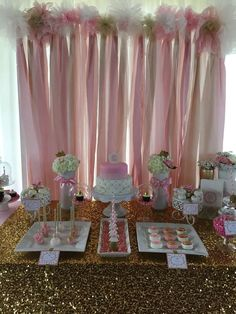 Pink and gold baby shower party! See more party planning ideas at CatchMyParty.com!