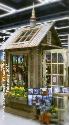 I have four windows already! Waiting for the right design! Perfection in a garden Shed - the amazingly talented Bob Bowling, from Whidbey Island, WA. This is one of his AMAZING little garden sheds being shown at the Seattle Garden Show. Best Greenhouse, Outdoor Greenhouse, Outdoor Sheds, Greenhouse Plans, Pallet Greenhouse, Window Greenhouse, Homemade Greenhouse, Portable Greenhouse, Greenhouse Wedding