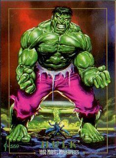 1992 SkyBox Marvel Masterpieces Promos Hulk Non-Sports Card NM Marvel Comics Superheroes, Marvel Heroes, Marvel Characters, Dc Comics, Comic Book Heroes, Comic Books Art, Comic Art, Book Art, Hulk Avengers