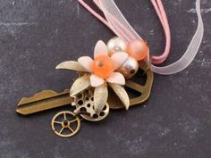 Steampunk Pink Flower Vintage Key Necklace - Upcycled Steampunk Jewelry by fripparie on Zibbet