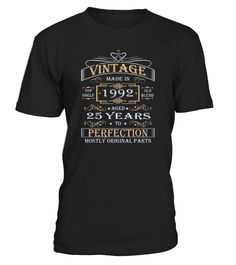 Vintage Age 25 Years 1992 Perfect 25th Birthday Gift  Funny Birthday T-shirt, Best Birthday T-shirt