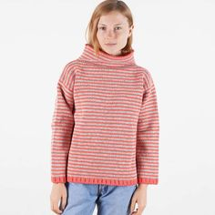 Pure Wool Women´s jumper crafted in Spain. A mix of undyed and red Spanish  wool knitted in classic stripes. A top quality knit for everyday wear. ee6ef57d43