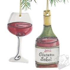 Personalized Red Wine Bottle and Wine Glass Ornament (Set of 2) at Wine Enthusiast - $29.95