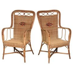 Pair of French Vintage Provence Rattan and Cane Armchairs | From a unique collection of antique and modern armchairs at https://www.1stdibs.com/furniture/seating/armchairs/