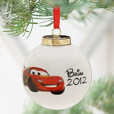 Lightning McQueen Ornaments for the boys with cars stickers and names written
