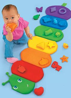 With Lakeshore's Colorpillar Sorting Mat, toddlers discover colors and shapes in a super-involving way using this soft plush caterpillar.