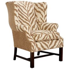 Quite The Statement Zebra Wingback Chair, Complete With Nailheads!