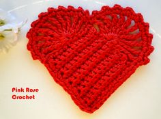 PINK ROSE CROCHET : Coração de Crochê - Crochet Red Heart