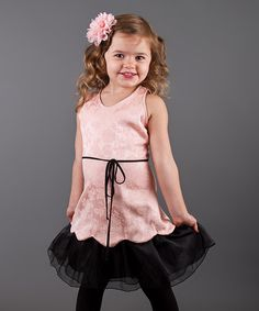 Another great find on #zulily! Peach & Black Flared Dress - Toddler & Girls by Mia Belle Baby #zulilyfinds